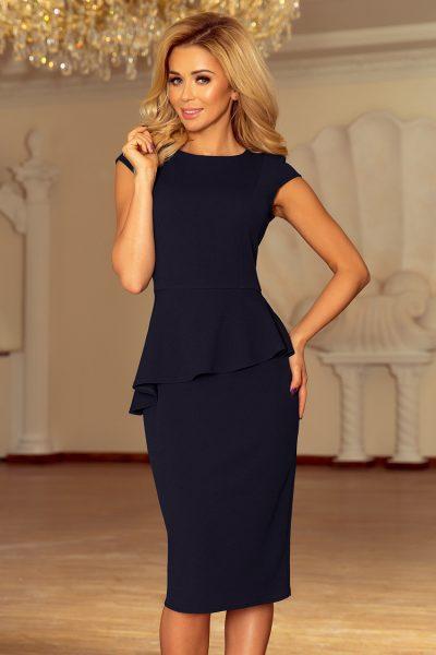 Tmavo modré elegantné šaty s asymetrickým lemom a krátkymi rukávmi