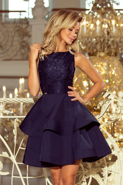 Tmavo modré elegantné šaty s dvojitou sukňou