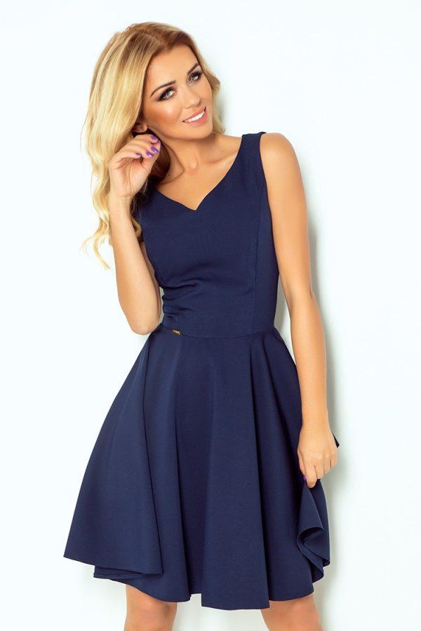 Tmavo modré elegantné šaty  s výstrihom v tvare srdca