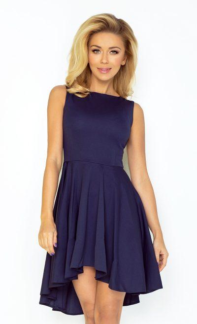 Tmavo modré letné šaty s dlhšou sukňou vzadu