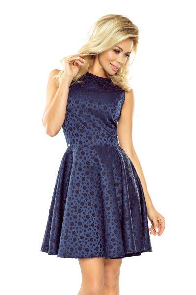 Tmavo modré rozšírené krátke šaty s bodkami