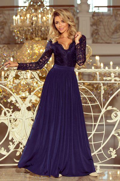 Tmavo modré spoločenské šaty s čipkovaným výstrihom a rukávmi
