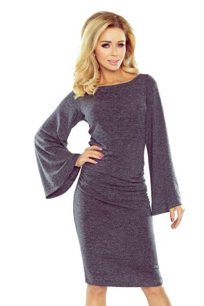 Tmavo sivý sveter s límcom a rozšíreným rukávom GRAFIT melanza