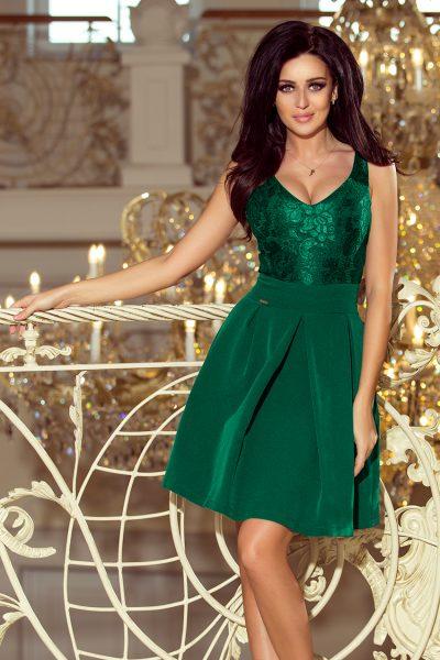 Tmavo zelené šaty s čipkovým výstrihom a záhybmi