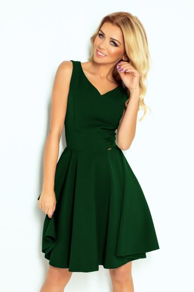 Tmavo zelené elegantné šaty  s výstrihom v tvare srdca