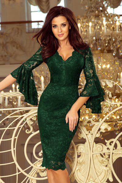 Tmavo zelené spoločenské šaty s čipkou a rozšírenými rukávmi