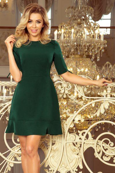 Tmavo zelené voľné šaty s viazaním na rukávoch