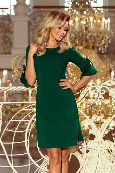 Tmavo zelené voľné lichobežníkové šaty s rozšíreným rukávom