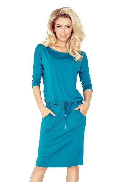 Tyrkysovo modré športové šaty s viazaním a vreckami