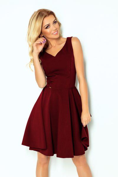 Vínovo červené elegantné šaty  s výstrihom v tvare srdca