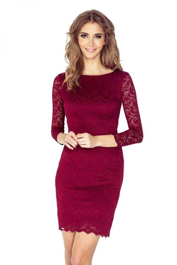 Vínovo červené krátke čipkované šaty