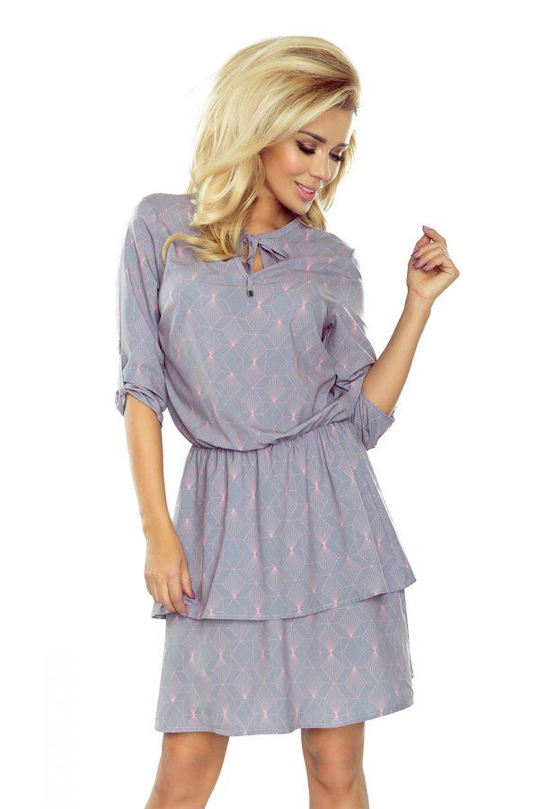 Voľné šaty s dvojitou sukňou a 3/4 rukávom – svetlo šedá + neónové vzory