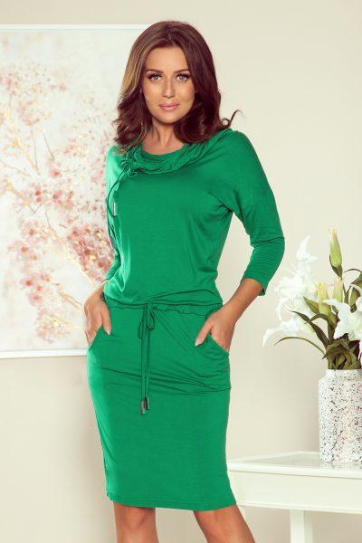Zelené športové šaty s golierom a vreckami