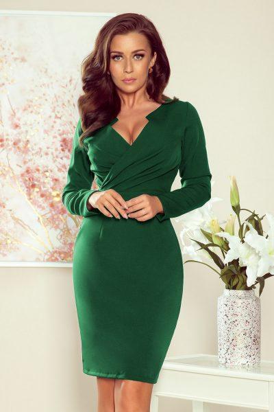 Zelené elegantné šaty s dlhými rukávmi a výstrihom