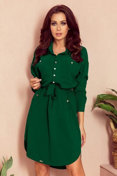 Zelené košeľové krátke šaty s viazaním