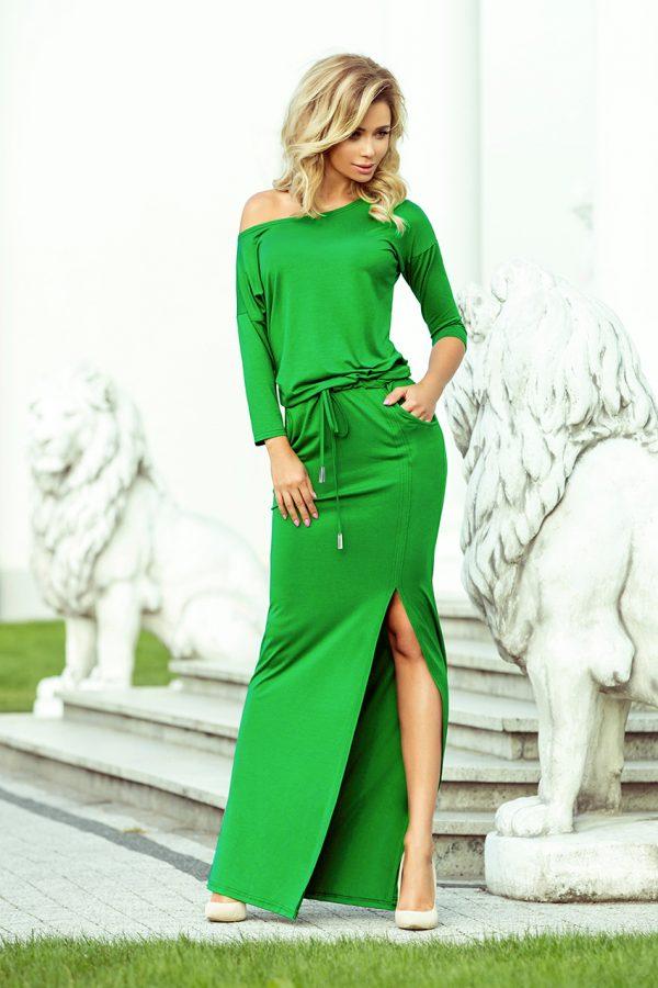 Zelené maxi športové šaty so spadnutými ramenami