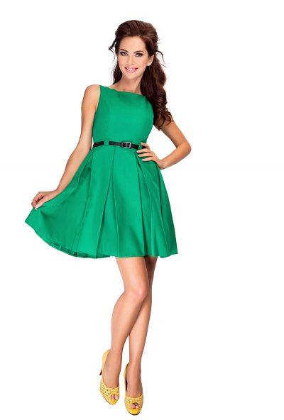Zelené rozšírené krátke šaty s opaskom