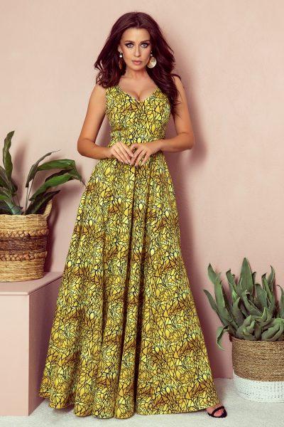 Zlato čierne vzorované elegantné šaty s výstrihom a bez rukávov