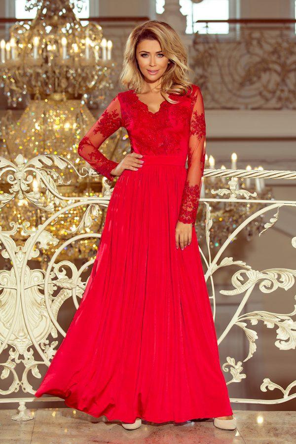 Červené dlhé spoločenské šaty s vyšívaným výstrihom a čipkovaným rukávom