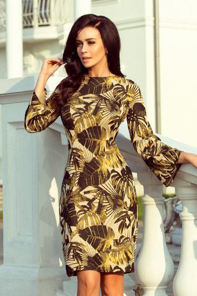 Horčicové puzdrové šaty s rozšíteným rukávom a listovým vzorom