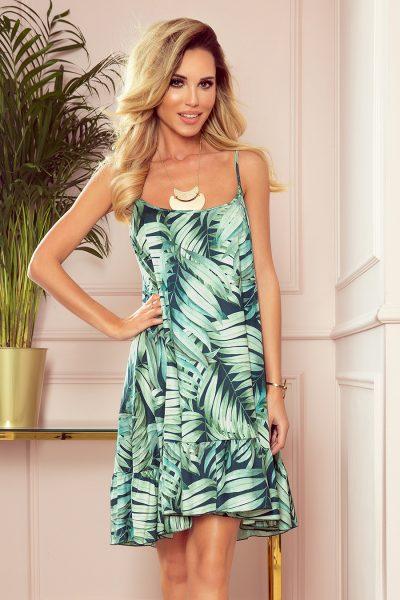 Letné krátke šaty na ramienkach so zelenými listami