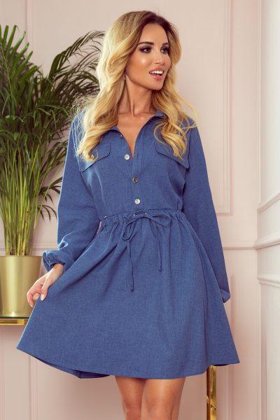Modré rifľové košeľové šaty s voľnými rukávmi