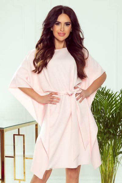 Pastelovo ružové krátke šaty s voľnými rukávmi a viazaním