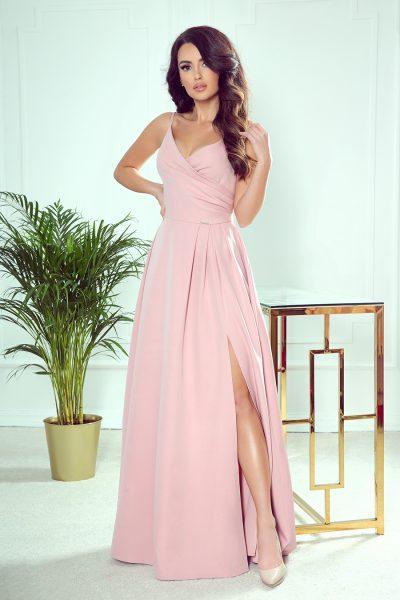 Pudrovo ružové elegantné maxi šaty