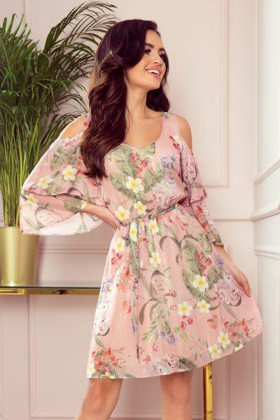 Ružové letné kvetované šaty