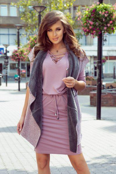 Ružovo sivá obojstranná teplá dlhá vesta