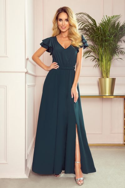 Tmavo zelené dlhé šaty s volánikmi