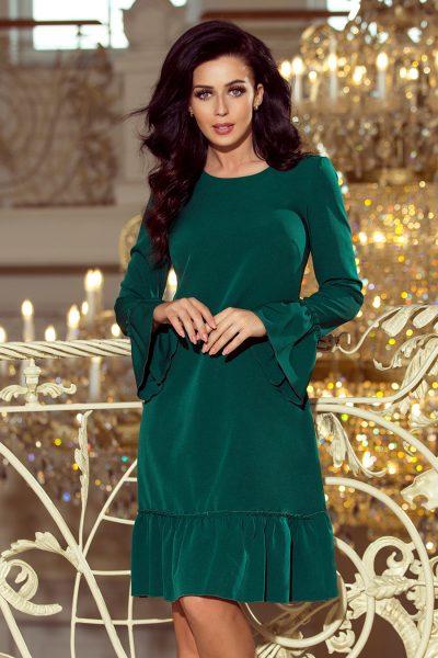 Tmavo zelené voľné šaty s volánikmi