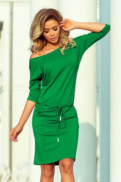 Zelené športové šaty s viazaním a vreckami