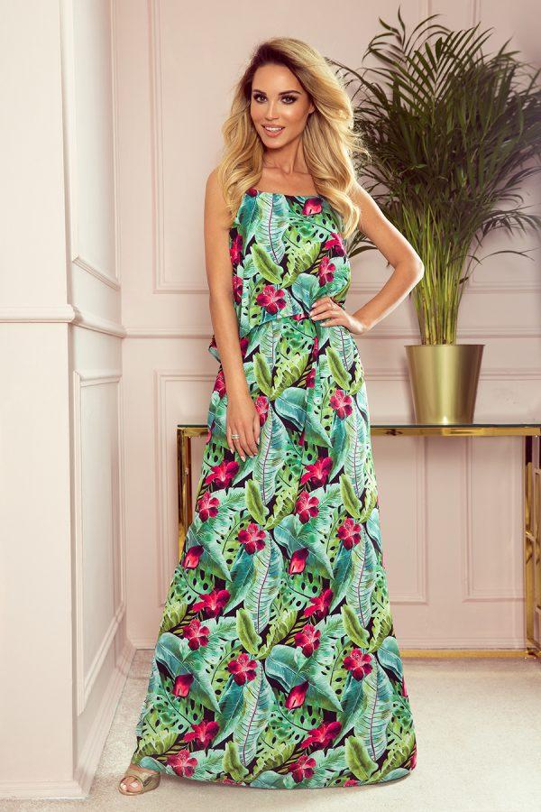 Zelené kvetované dlhé letné šaty na ramienkach