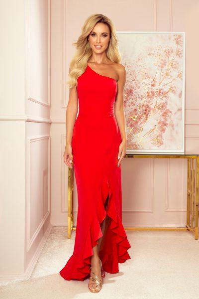 Červené dlhé volánikové šaty s jedným ramienkom
