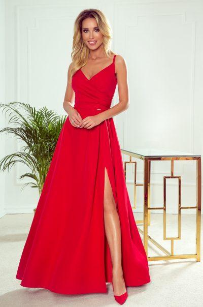 Červené elegantné maxi šaty s pásmi