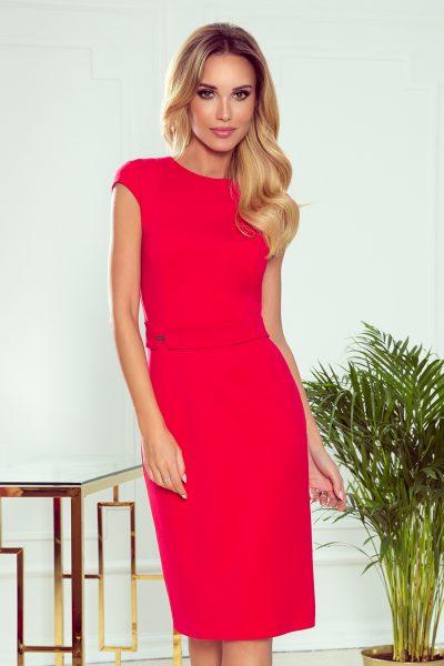 Červené elegantné midi šaty s opaskom