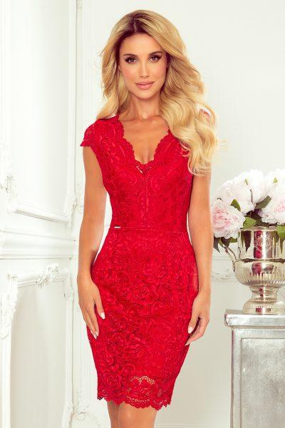Červené krátke čipkované šaty s výstrihom
