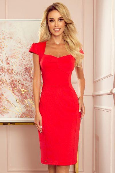 Červené midi šaty s pekným výstrihom