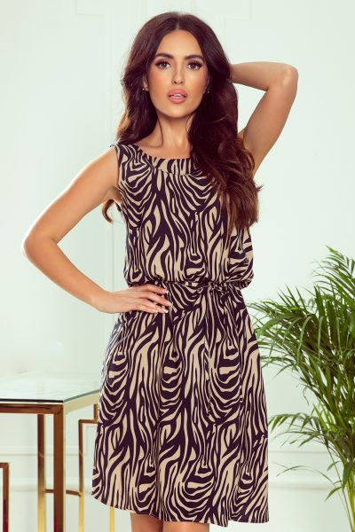 Čierno béžové krátke letné šaty so zebrovým vzorom bez rukávov