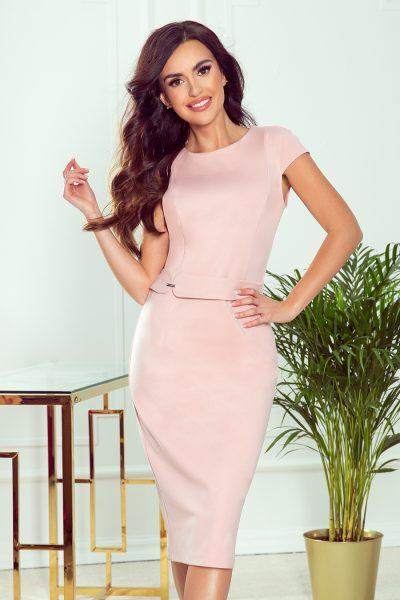 Špinavo ružové elegantné midi šaty s opaskom