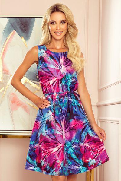 Farebné krátke letné šaty s modrými a ružovými kvetmi