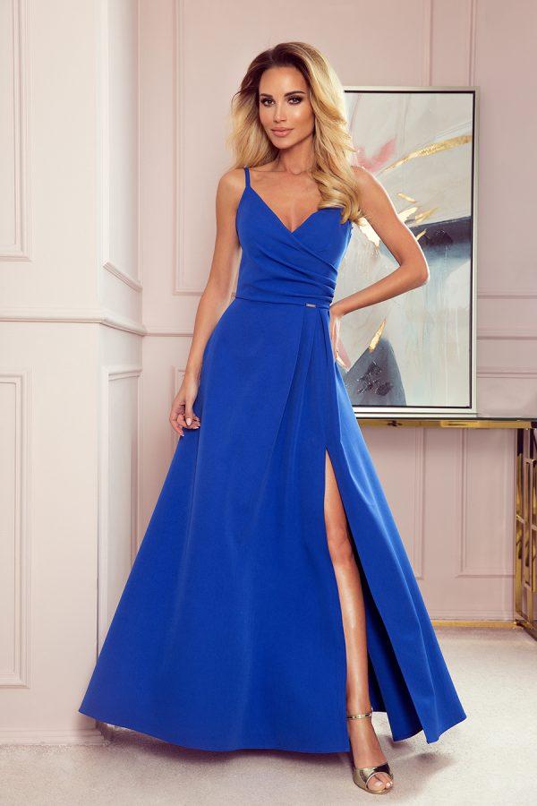 Modré elegantné maxi šaty s pásmi