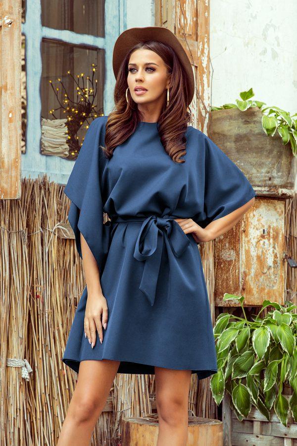 Modré krátke šaty s voľnými rukávmi a viazaním