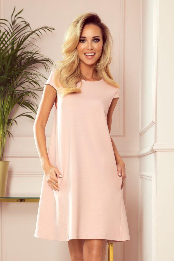 Pastelovo ružové voľné krátke šaty s vreckami