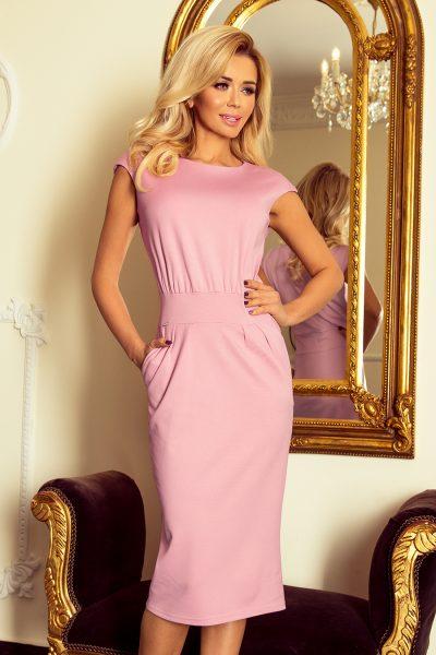 Pudrovo ružové elagantné šaty so zvýšeným pásom a vreckami