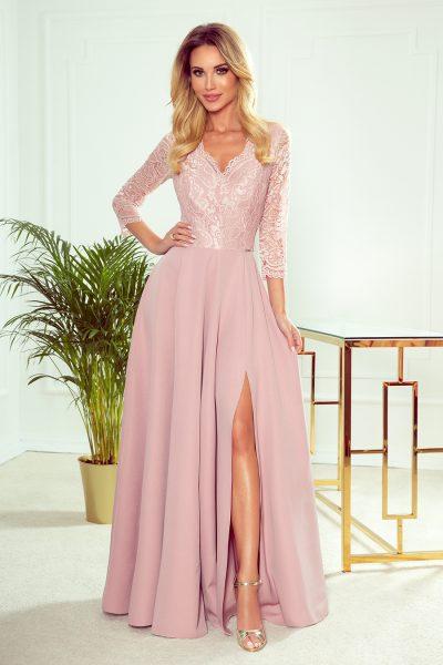 Pudrovo ružové elegantné dlhé čipkované šaty s výstrihom