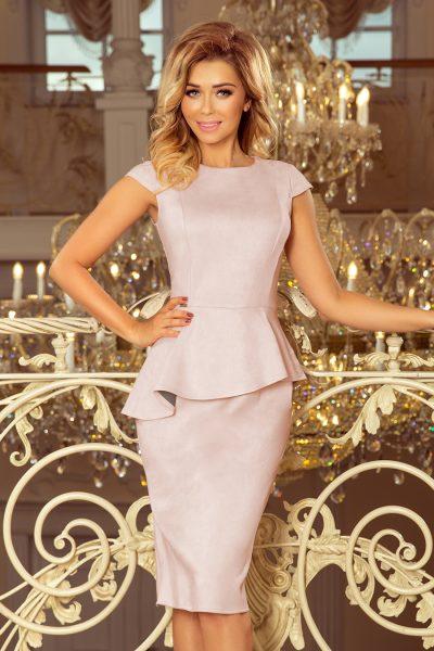 Staro ružové elegantné šaty s asymetrickým lemom a krátkymi rukávmi