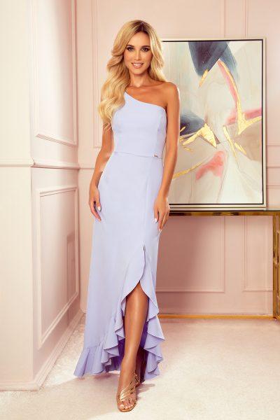 Svetlé vresové dlhé volánikové šaty s jedným ramienkom