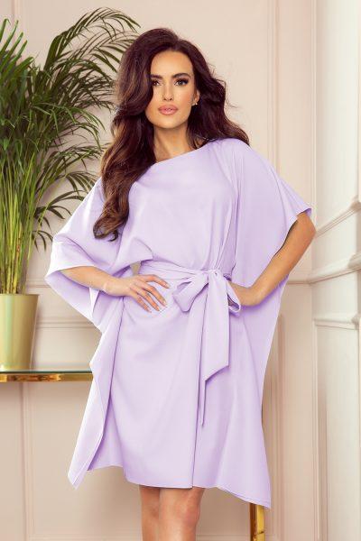 Svetlé vresové krátke šaty s voľnými rukávmi a viazaním